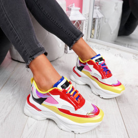 womens ladies chunky sole party sneakers lace up trainers casual shoes size uk 3 4 5 6 7 8