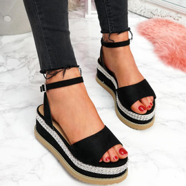 womens ladies platform flatform wedge high heel sandals peep toe ankle strap shoes size uk 3 4 5 6 7 8