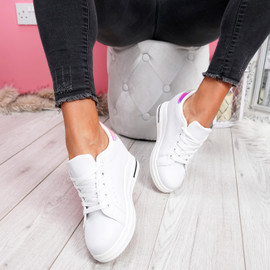 womens ladies wedge trainers lace up party plimsolls sneakers women shoes size uk 3 4 5 6 7 8