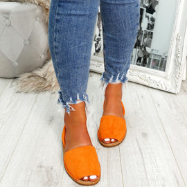 womens ladies faux suede sling back peep toe flat sandals party casual comfy shoes size uk 3 4 5 6 7 8