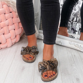 womens ladies flat sandals bow sliders snake pattern women shoes size uk 3 4 5 6 7 8
