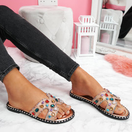 womens ladies sliders peep toe rhinestone flat sandals women party shoes size uk 3 4 5 6 7 8
