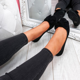 Sorra Black Bow Ballerinas