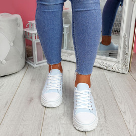 Ledde Light Blue Lace Up Trainers