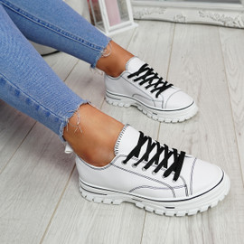 Ledde White Lace Up Trainers