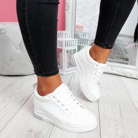 Pinna White Wedge Trainers