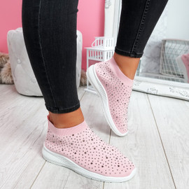 Jutty Pink Studded Sock Sneakers