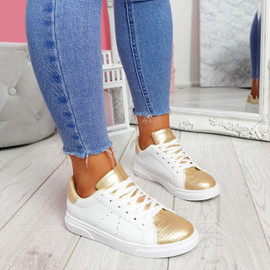 Minna White Gold Croc Lace Up Trainers