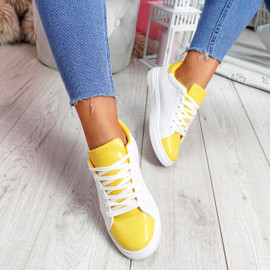 Minna White Yellow Croc Lace Up Trainers