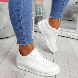Zowe White Studded Trainers