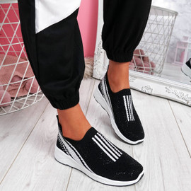 Billy Black Studded Slip On Trainers