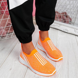 Billy Orange Studded Slip On Trainers