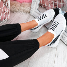 Billy White Studded Slip On Trainers