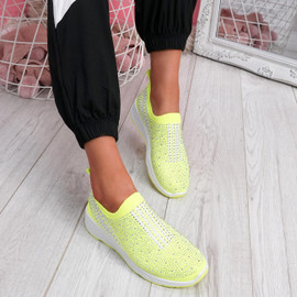 Billy Yellow Studded Slip On Trainers
