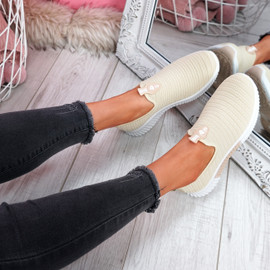 Kimmy Beige Slip On Trainers