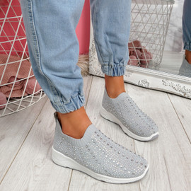 Kenny Light Grey Studded Sock Sneakers