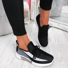 Nova Black Lace Up Knit Trainers