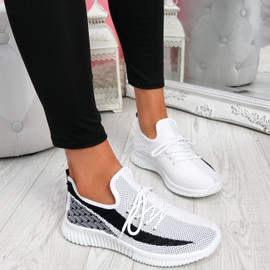 Nova White Lace Up Knit Trainers