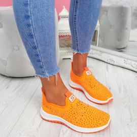 Vya Orange Studded Slip On Trainers