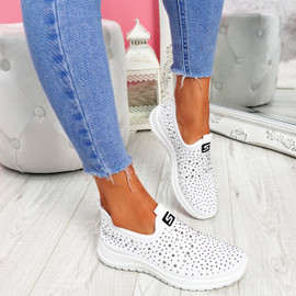 Vya White Studded Slip On Trainers