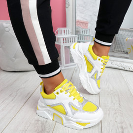 Nezze Yellow Glitter Chunky Sneakers