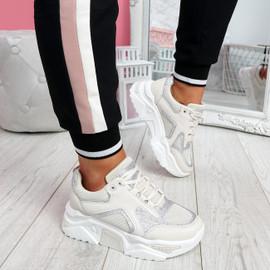 Nezze Beige Glitter Chunky Sneakers