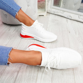 Tissa White Lace Up Trainers