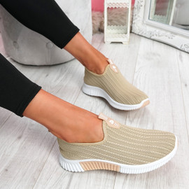 Diffa Beige Knit Trainers