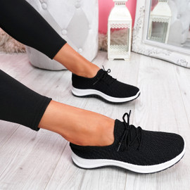 Ligy Black Knit Lace Up Sneakers