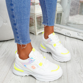 Denza Yellow Lace Up Chunky Sneakers