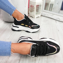 Kalle Black Chunky Trainers