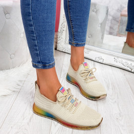 Elva Beige Rainbow Sole Trainers