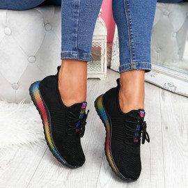 Elva Black Rainbow Sole Trainers