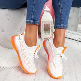 Jima White Orange Lace Up Sport Sneakers