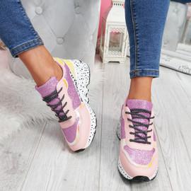 Zinna Pink Glitter Chunky Sneakers