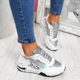 Zinna Silver Glitter Chunky Sneakers