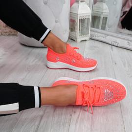 Pehy Fuchsia Studded Knit Sneakers
