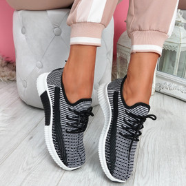 Tenny Black Lace Up Trainers