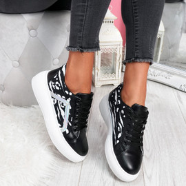 Sirra Black Lace Up Trainers