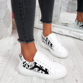Sirra White Lace Up Trainers
