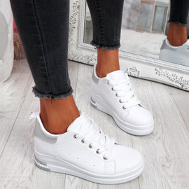 Retty White Silver Wedge Trainers