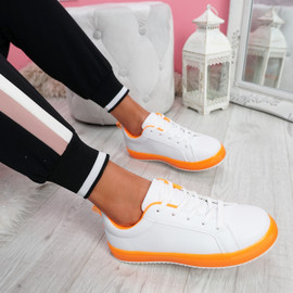 Crozy Orange Lace Up Platform Trainers