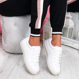 Crozy White Lace Up Platform Trainers