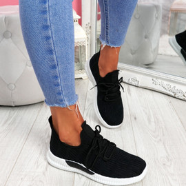 Yppo Black Knit Trainers