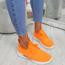 Yppo Orange Knit Trainers