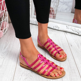 Kotty Fuchsia Flat Sandals