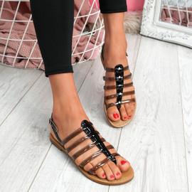Kotty Black Flat Sandals