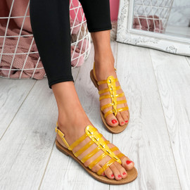 Kotty Yellow Flat Sandals