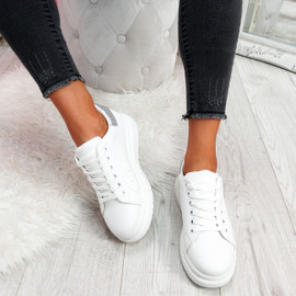 Yallo White Silver Walking Trainers