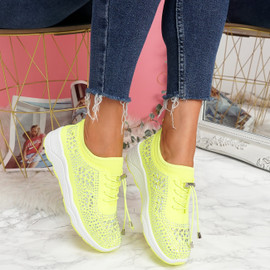 Hezzo Yellow Studded Trainers